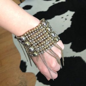 Silver and gold beaded fringe bracelet